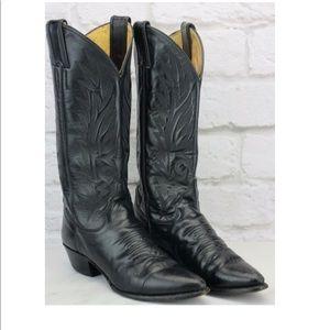Justin  Black Leather Cowboy Boots Size 5.5 Medium